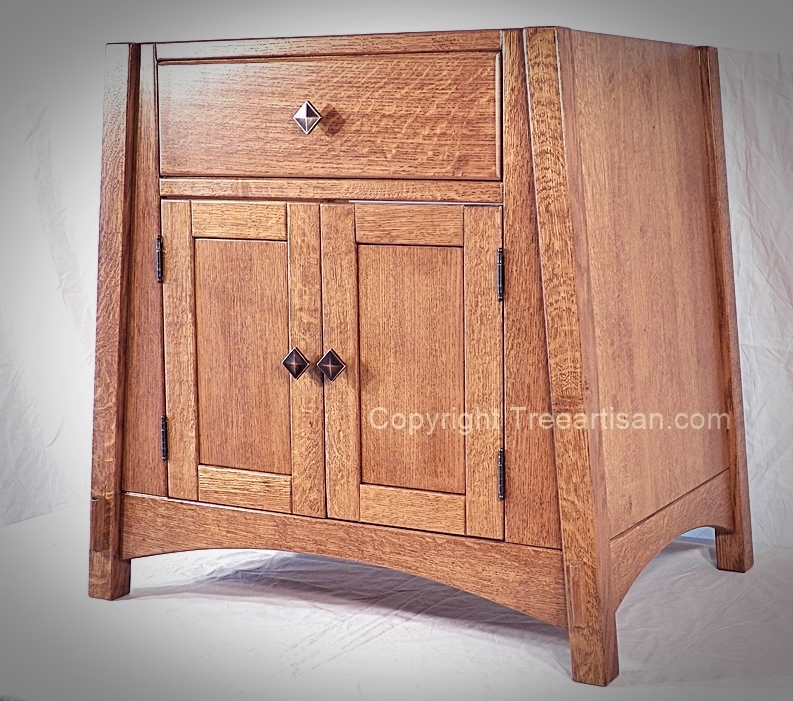 quarter sawn oak amish mccoy mission vanity bathroom sink cabinet 26