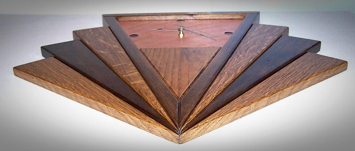 Quarter Sawn Oak Walnut Copper Art Deco Fan Wall Clock