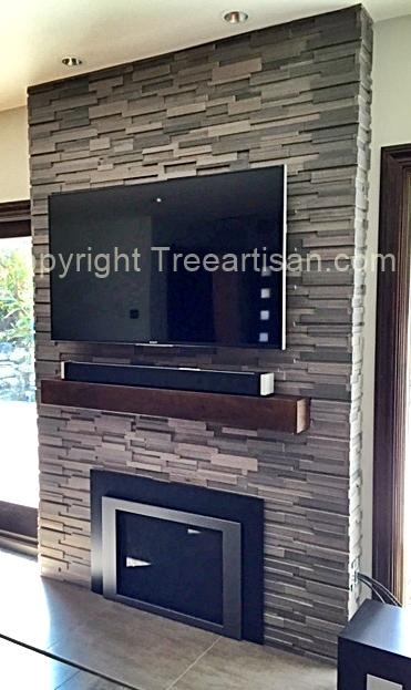 Rustic Modern Custom Walnut Beam Fireplace Mantel Floating