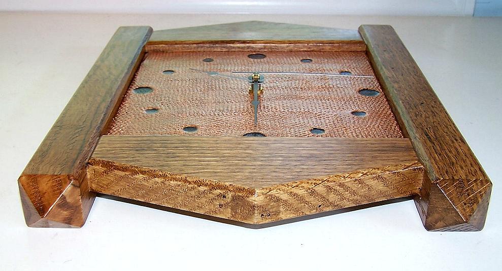 Stickley Quarter Sawn Oak Copper Craftsman Mission Wall Clock