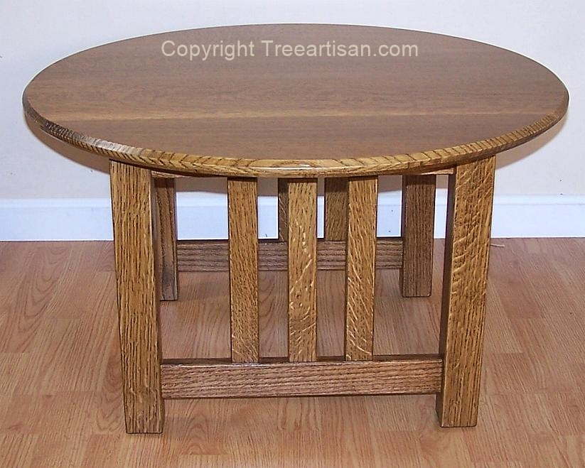 Round Coffee Table Quarter Sawn Oak Mission Craftsman Inspired Handcrafted