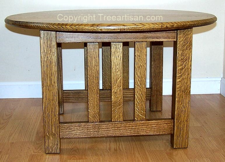 Round Coffee Table Quarter Sawn Oak Mission Craftsman Inspired Handcrafted 2
