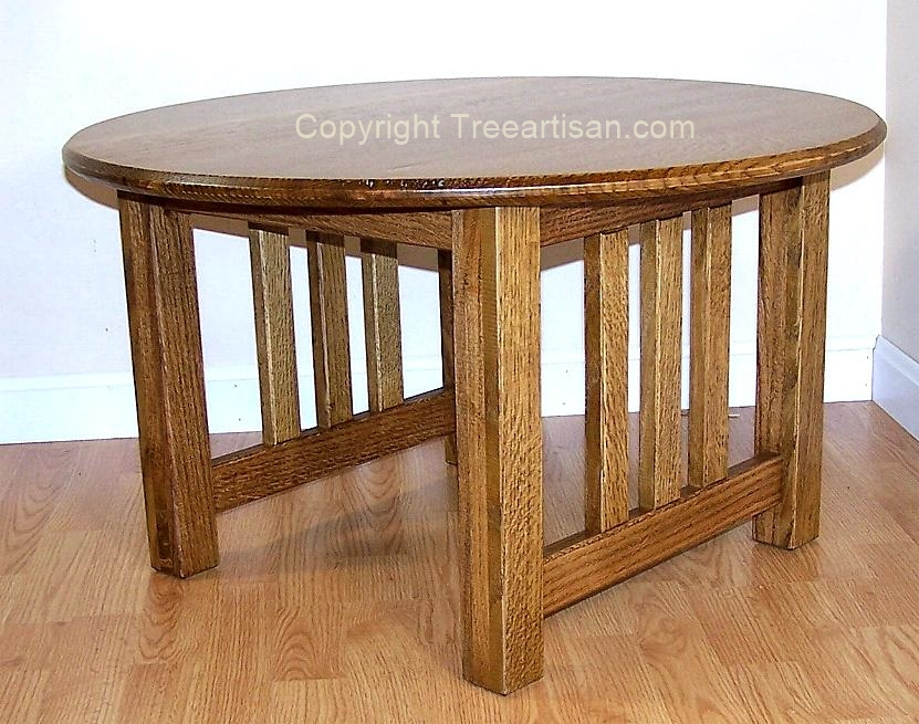 Craftsman Mission Round Coffee Table Quarter Sawn Oak 26 Colors Hand