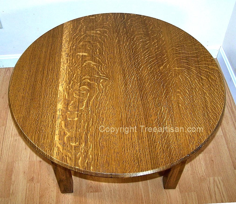 Round Coffee Table Quarter Sawn Oak Mission Craftsman Inspired Handcrafted 4